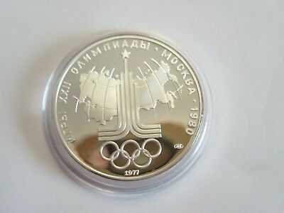 1977 Russia Proof Silver 10 Roubles - 1980 Moscow Olympics USSR Map