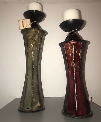 Tall Elegant CANDLE HOLDERS in Detailed Metal in Green &  Red