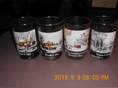 CURRIER AND IVES Arbys Christmas Tumblers Glasses 1981 Complete Set of 4