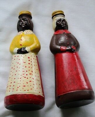 2 Vintage Aunt Jemima Black Americana syrup bottles hand painted Folk Art WOW!