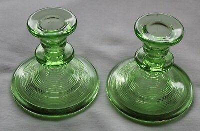 "Vintage Indiana Glass Old English ""Threading"" depression glass candlesticks"