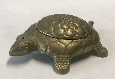 Vintage Solid Brass Turtle Made In Italy Hidden Compartment Trinket Box Dish