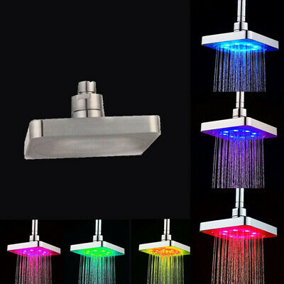 10 Inch LED Light Shower Head Square 7 Colors Changing Water Rain Top Sprayer