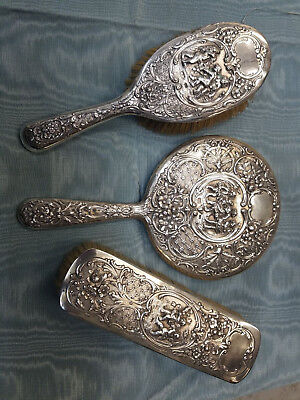 Vintage 3 Piece Silver Dresser Set, Mirror & Two Brushes with Cherubs Figures