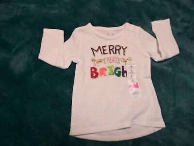 Christmas Merry and Bright Infant Girls Waffle Thermal Tunic Top SIZE 18 Months