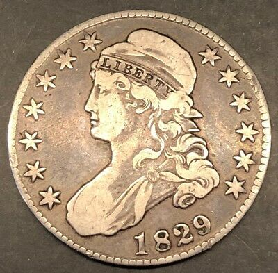 1829 Capped Bust Silver Half Dollar 50c Coin, Details, Nicely Toned!
