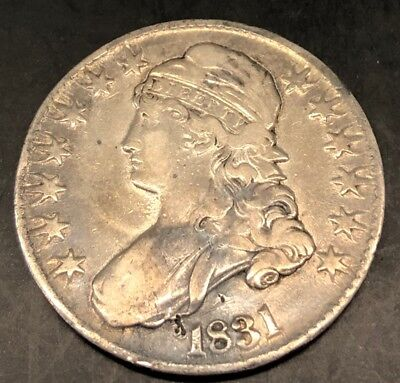 1831 Capped Bust Silver Half Dollar 50c Coin, Nicely Toned, Extremely Fine!