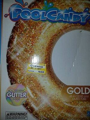 Giant GOLD RING Party Pool Beach Float INNER TUBE Lounge Raft Inflatable NEW