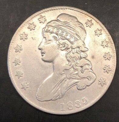 1835 Capped Bust Silver Half Dollar 50c Coin, BU, DETAILS - BRILLIANT