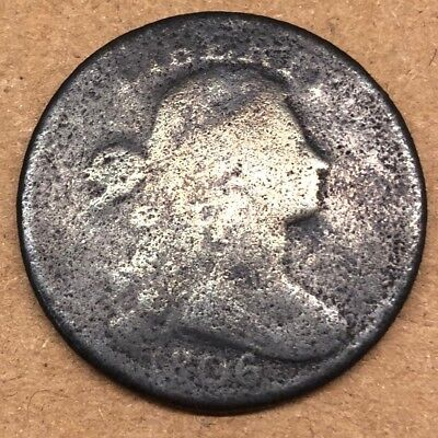 1806 Draped Bust Large Cent 1c Coin, ABOUT GOOD