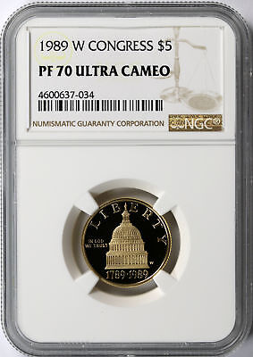 1989-W Congress $5 Gold Commemorative NGC PF70 Ultra Cameo