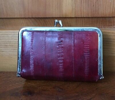 Vintage Burgundy Red Leather Envelope Clutch Mirror Makeup Bag Recangular Korea