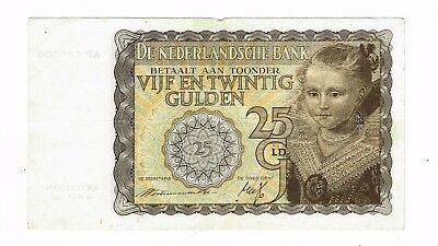 1940 Netherlands 25 Guilder Gulden bank note  : Amsterdam