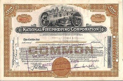 National Fireproofing Corporation - NATCO stock certificate dated 1930s Delaware
