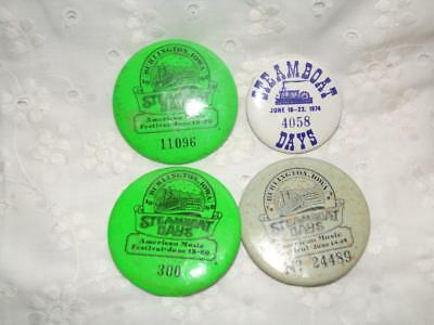 lot of four Burlington, Iowa- STEAMBOAT DAYS BADGES/ PINS/BUTTONS
