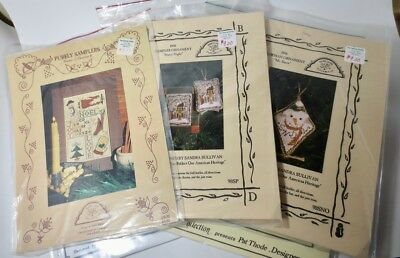 Lot 6 Vintage Christmas Sampler Patterns Cross Stitch Ornaments Primitives Folk