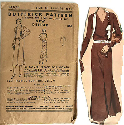 Antique 1920's Butterick Pattern 4004,New Deltor, Delineator, Slip-over Dress,FF