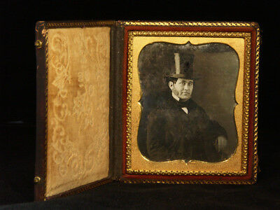 Man Wearing Top Hat in Full Leather Case - 1/6 Plate