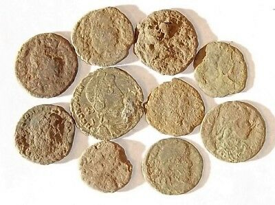 10 ANCIENT ROMAN COINS AE3 - Uncleaned and As Found! - Unique Lot 34444