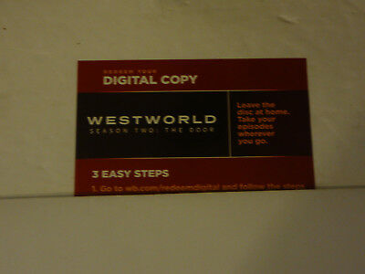 WESTWORLD  SEASON TWO 2 THE DOOR Digital HD Code Only Canada Only