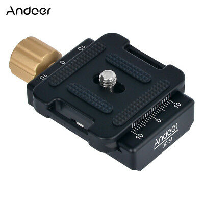 Andoer DC-34 Quick Release Plate Clamp Adapter with One Quick Release Plate M5Y5
