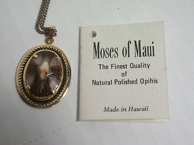 Vintage Moses of Maui Opihi Shell Pendant Necklace Made in Hawaii