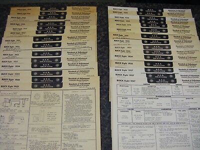 AEA Tune Up Charts Cards Buick Eight 1946-1957