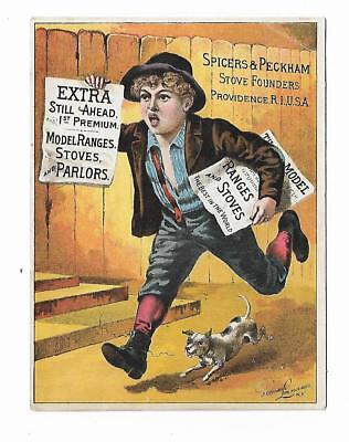 Old Trade Card Spicers & Peckham Stove Founders Ranges Providence RI Newsboy