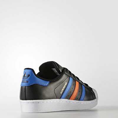 0cd145f94ca7 Adidas Originals Superstar J Juniors Youth Kids Black   Blue BB0353 SIZE US  6