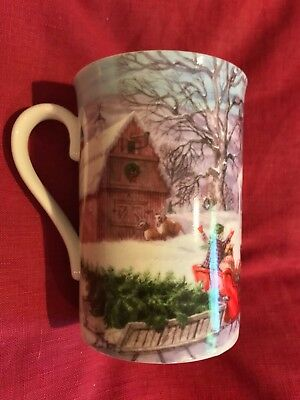 Lenox American Christmas Bringing Home The Tree Tall Mug 12 Oz Capacity