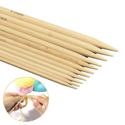 55pcs (11 Sizes) Double Pointed Bamboo Knitting Needles Sweater Glove Knit Tools