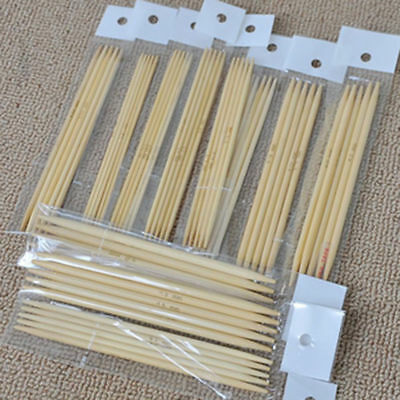 55Pcs Double Pointed Bamboo Knitting Needles Sweater Glove Knit Tool Set 13CM