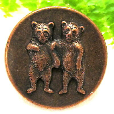 Cute Vtg-Antique Large Copper Button W/ 2 Bears S104