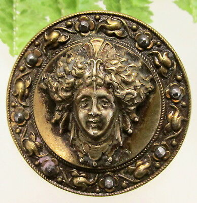 "Fantastic  Lg. Victorian Mythology Button "" Medea"" With Cut Steel Border S10"