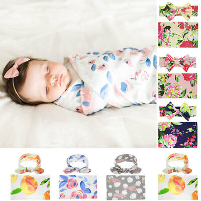 AU Baby Infant Floral Swaddle Newborn Wrap Swaddling Blanket Towel Headband Set