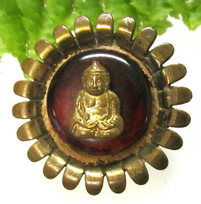 Old Metal Flower Escutcheon Button With Buddha S14