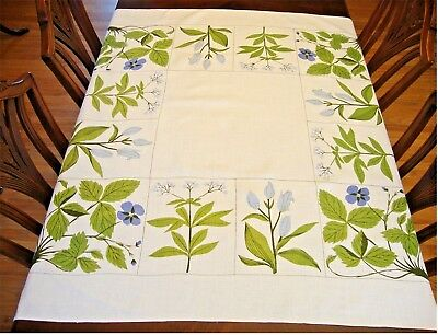 Vintage Floral Linen Tablecloth 52 x 52 Blue Flowers Lovely!