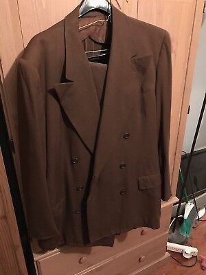 DEADSTOCK 1940s Gabardine Six Button Double Breasted Suit Jacket And Pants