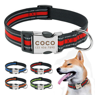 Custom Personalized Dog Collar Safety Reflective Nylon Collars for Pet Dogs