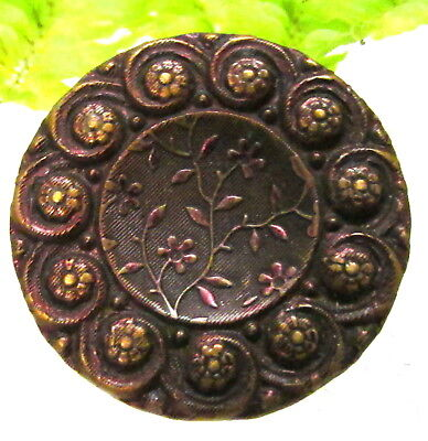 Lovely Victorian Tinted Metal Wallpaper Button With Flower Border S75