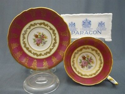 Paragon England Bone China Red & Gold Hand Painted Flowers Tea Cup & Saucer Duo