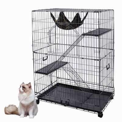 """51""""H Large Folding Collapsible Pet Cat Wire Cage Indoor Outdoor Playpen Vacation"""