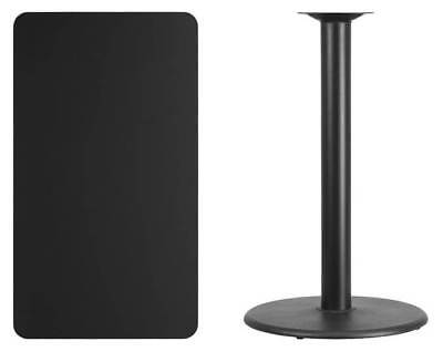 Rectangular Laminate Bar Table in Black with Round Base [ID 3425158]