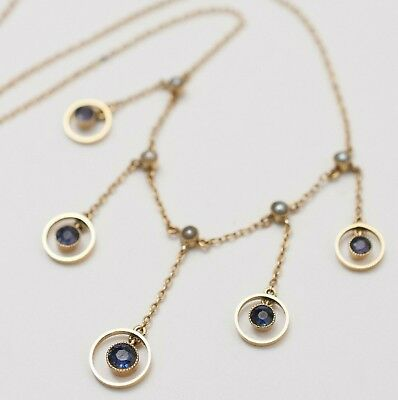 Antique Victorian Edwardian 9k 9ct Gold Sapphire Seed Pearl Dangle Necklace