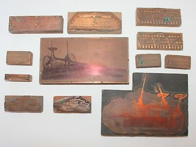 Antique 1920s Agriculture Farming Copper on Wood Printing Press Plates Set 1/2