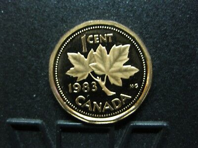1983 UNC Frosted Proof Canadian Penny One Cent - 1 cent coin - Oxidized