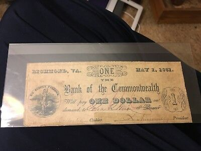 1861 $1.00 bank note Richmond Virginia bank of the commonwealth