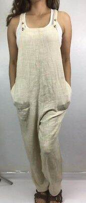 Free People Potato Sack Weave Overalls SMALL Oatmeal Lagenlook Boho Low Crotch