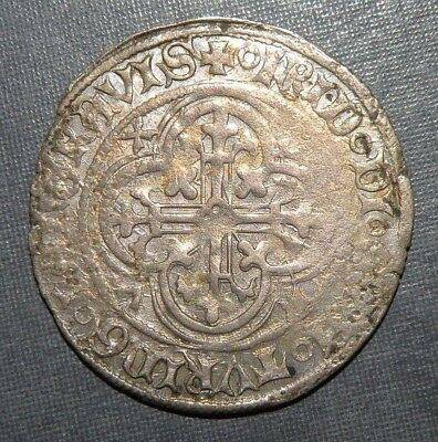 Medieval Coin Silver Coin Europe 1300-1400AD Lion Crusader Gothic Cross Ancient