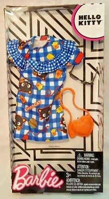 Barbie Hello Kitty Fashion Pack Chococat Blue Plaid Dress & Accessories 3+ New